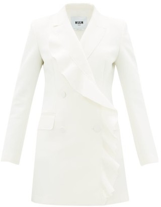 MSGM Double-breasted Ruffled Crepe Dress - Womens - Ivory