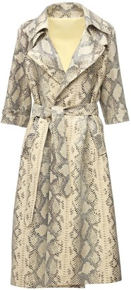 ZEYNEP ARCAY Oversize Snake Print Leather Trench Coat