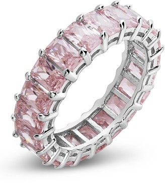 Sterling Forever Sterling Silver Emerald Cut CZ Eternity Band - Light Pink