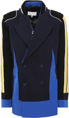 Maison Margiela Double-breasted Knit-paneled Striped Twill Blazer