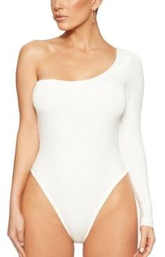 Naked Wardrobe One-Shoulder Thong Bodysuit
