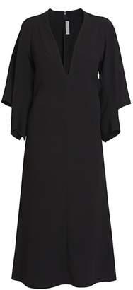 Victoria Beckham Deep V-Neck Drape-Sleeve Midi Dress
