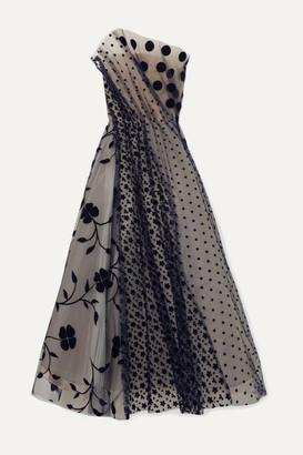 Oscar de la Renta Strapless Pleated Flocked Tulle Gown - Navy
