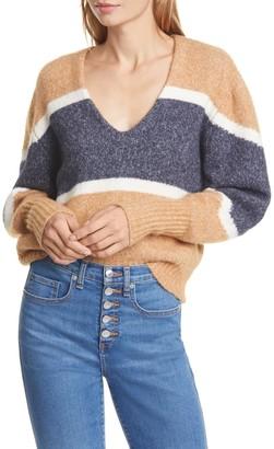 Veronica Beard Emilia Colorblock Stripe V-Neck Sweater