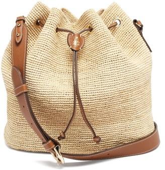 Mark Cross Joni Leather-trimmed Raffia Bucket Bag - Tan Multi