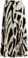 Proenza Schouler Graphic-print cut-out hem pleated-crepe midi skirt