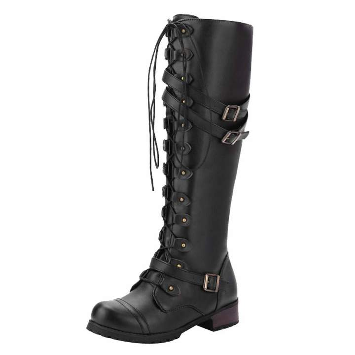 ab773a87c1c46 Knee High Boots For Women Low Heel Liraly Ladies Steampunk Gothic Vintage  Style Retro Punk Buckle Military Combat Boots