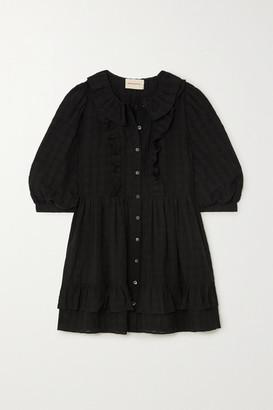 &Daughter Cecile Ruffled Cotton-seersucker Mini Shirt Dress - Black