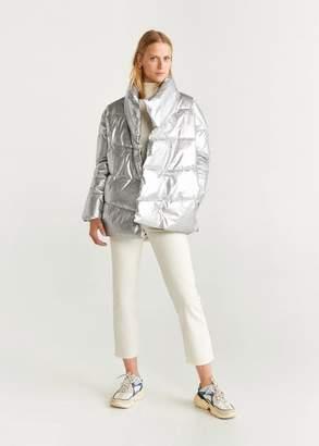 MANGO Metallic puffer jacket silver - XXS-XS - Women