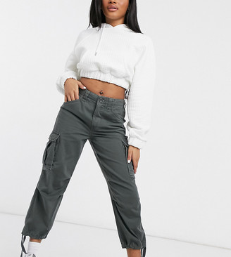 ASOS DESIGN Petite cargo pants with utility pocket in khaki