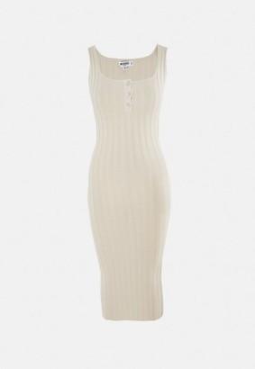 Missguided Petite Sand Knit Rib Midi Dress
