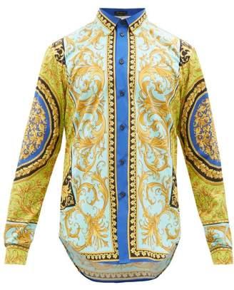 Versace Baroque-print Cotton-poplin Shirt - Mens - Blue Multi