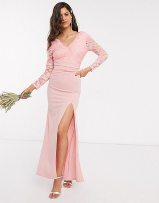 TFNC Bridesmaid lace detail maxi dress in light pink