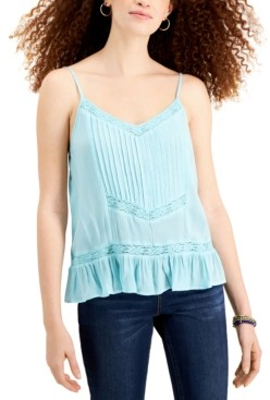 Planet Gold Juniors' Adjustable Lace-Trim Camisole