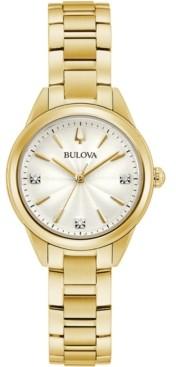 Bulova Women's Sutton Diamond-Accent Gold-Tone Stainless Steel Bracelet Watch 28mm