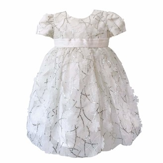 Mini Vanilla London Baby Girls Christening Party Dress: Soft Organza Fabric with Sequins and Cut Flower Shapes Ages 0-3 Months to 24 Months. White/Silver