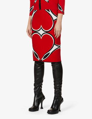 Alexander McQueen Graphic-pattern stretch-knit high-waist midi skirt