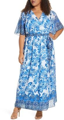 Marée Pour Toi Floral Print Wrap Maxi Dress