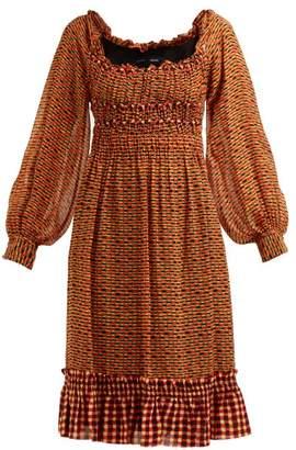Proenza Schouler Square-print Silk-georgette Midi Dress - Womens - Orange Multi