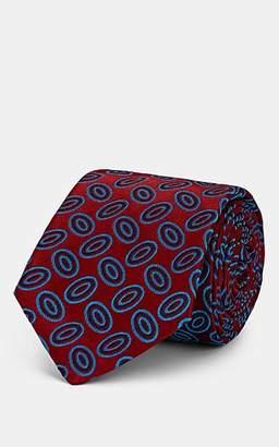 Kiton Men's Oval-Dot Silk Satin Necktie - Red