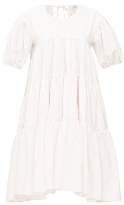 Cecilie Bahnsen Esme Tie-back Tiered Cotton Dress - Light Pink
