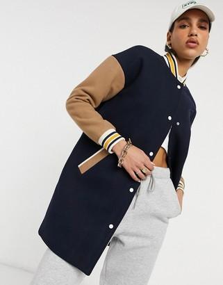 Gant longline varsity coat in navy