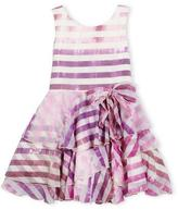 Zoe Sleeveless Tiered Striped Voile Dress, Lavender, Size 7-14