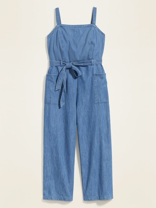 Old Navy Chambray Tie-Belt Plus-Size Sleeveless Jumpsuit