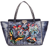 Valentino Rockstud Butterfly-Embroidered Tie-Dye Tote Bag, Denim