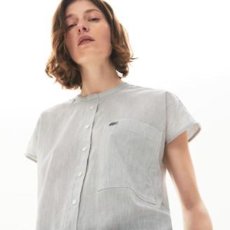 Lacoste Women's Striped Linen And Cotton Blend Shirt
