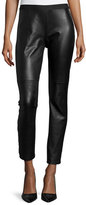 Eileen Fisher Ponte Leather-Blocked Leggings, Black, Petite