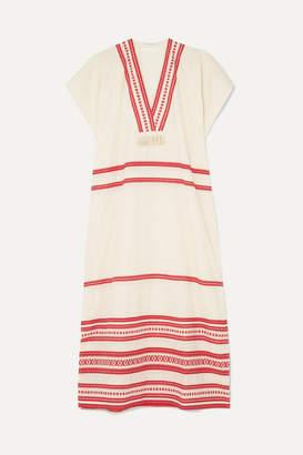 Celia Dragouni - Tasseled Embroidered Cotton-voile Maxi Dress - White