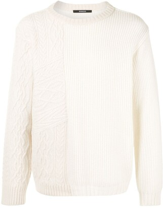 SONGZIO Cable-Knit Panelled Jumper