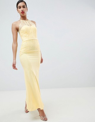 Little Mistress Lace Panelled Maxi Dress-Yellow