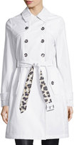 Laundry by Shelli Segal Belted Double-Breasted Trenchcoat, White/Leopard