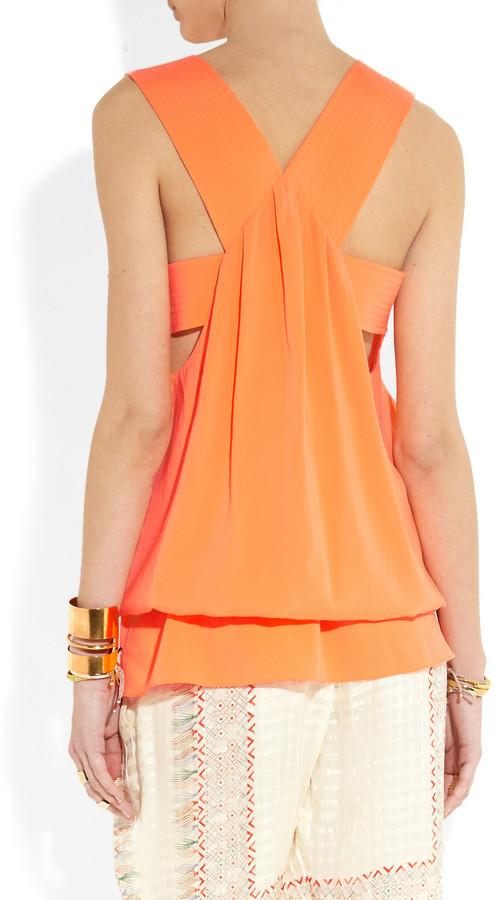 Chloé Stretch-silk drawstring top
