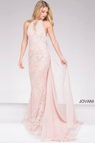 Jovani Lace Embroidered Prom Dress With Sheer Paneling 45727