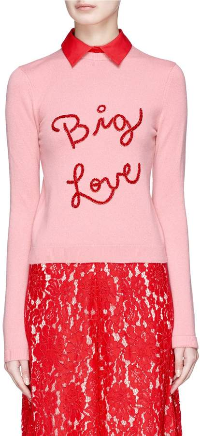Alice + Olivia 'Dia' detachable collar slogan embroidered cashmere sweater