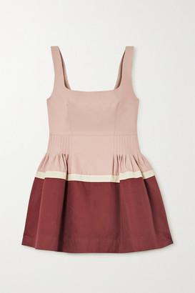 MINJUKIM Pleated Cotton-blend Twill Peplum Top - Blush