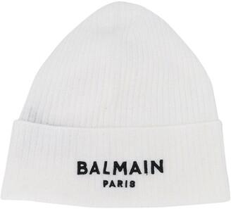 Balmain Kids Embroidered Logo Ribbed-Knit Beanie