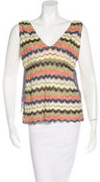 M Missoni Chevron Pattern Sleeveless Top