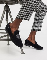 Twisted Tailor suede slipper loafer with skull detail in black