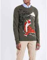 Ralph Lauren Purple Label Tiger-intarsia Cashmere And Wool Blend Jumper
