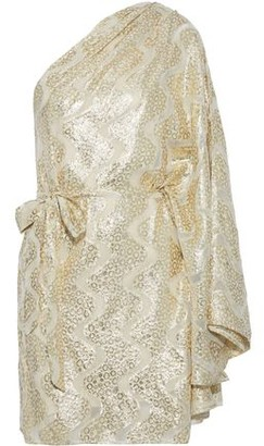 Melissa Odabash Moss One-shoulder Burnout Metallic Jacquard Mini Dress