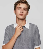 Reiss Danny - Herringbone Polo Shirt in White, Mens