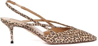 Aquazzura Soul Leopard Print Suede Leather Slingback