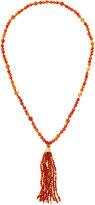 Kenneth Jay Lane Long Tortoise-Hued Beaded Tassel Necklace, Orange/Brown