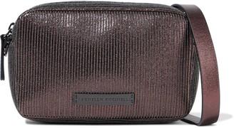 Brunello Cucinelli Bead-embellished Metallic Textured-leather Shoulder Bag