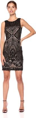 Calvin Klein Women's Sleeveless Sequin Sheath Dress Black/Nude 10