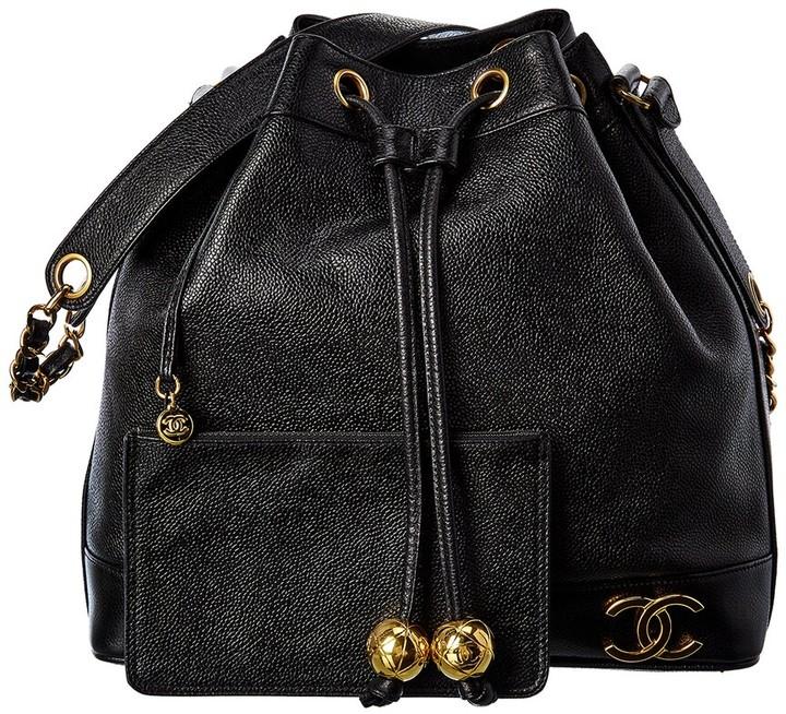 Chanel Black Caviar Leather Cc Globe Bucket Bag